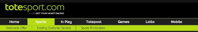 Totesport - букмекерская контора. Главное меню сайта