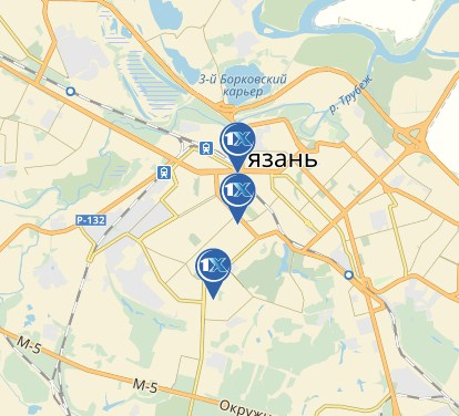 1xbet в Рязани - представительства на карте