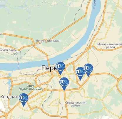 1xbet: Пермь – адреса ППС на карте