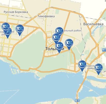 1xbet. Тольятти: адреса на карте
